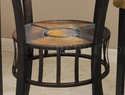 Glass Top Metal Base Counter Height Dinette WSlate Inlays