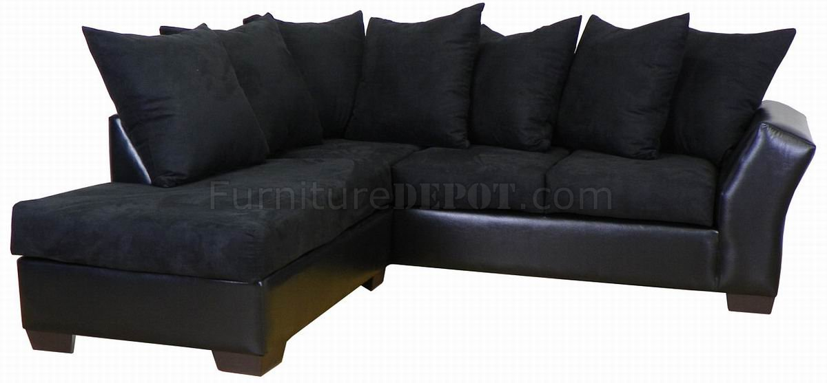 black fabric bicast modern sectional sofa