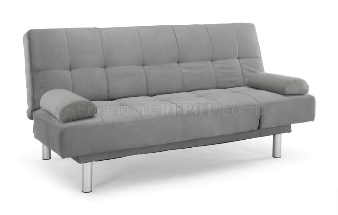 Dark Grey Microfiber Modern Sofa Bed WWood Frame Amp Metal Legs
