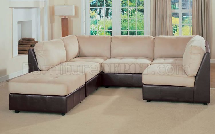 microfiber two tone sectional sofa