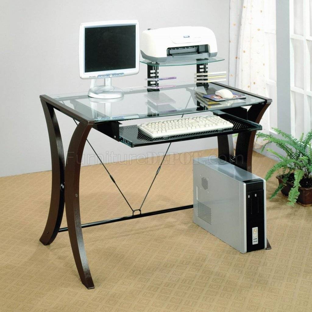 Clear Glass Top Amp Cappuccino Legs Modern Home Office Desk