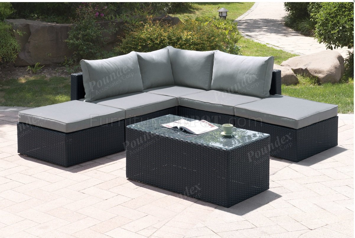 406 Outdoor Patio 6Pc Sectional Sofa Set by Poundex w/Options on Outdoor Loveseat Sets  id=78115