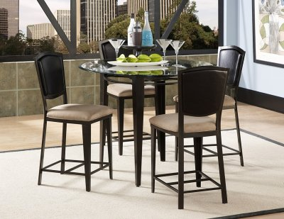 Black Metal Amp Glass Top Modern 5Pc Counter Height Dining Set