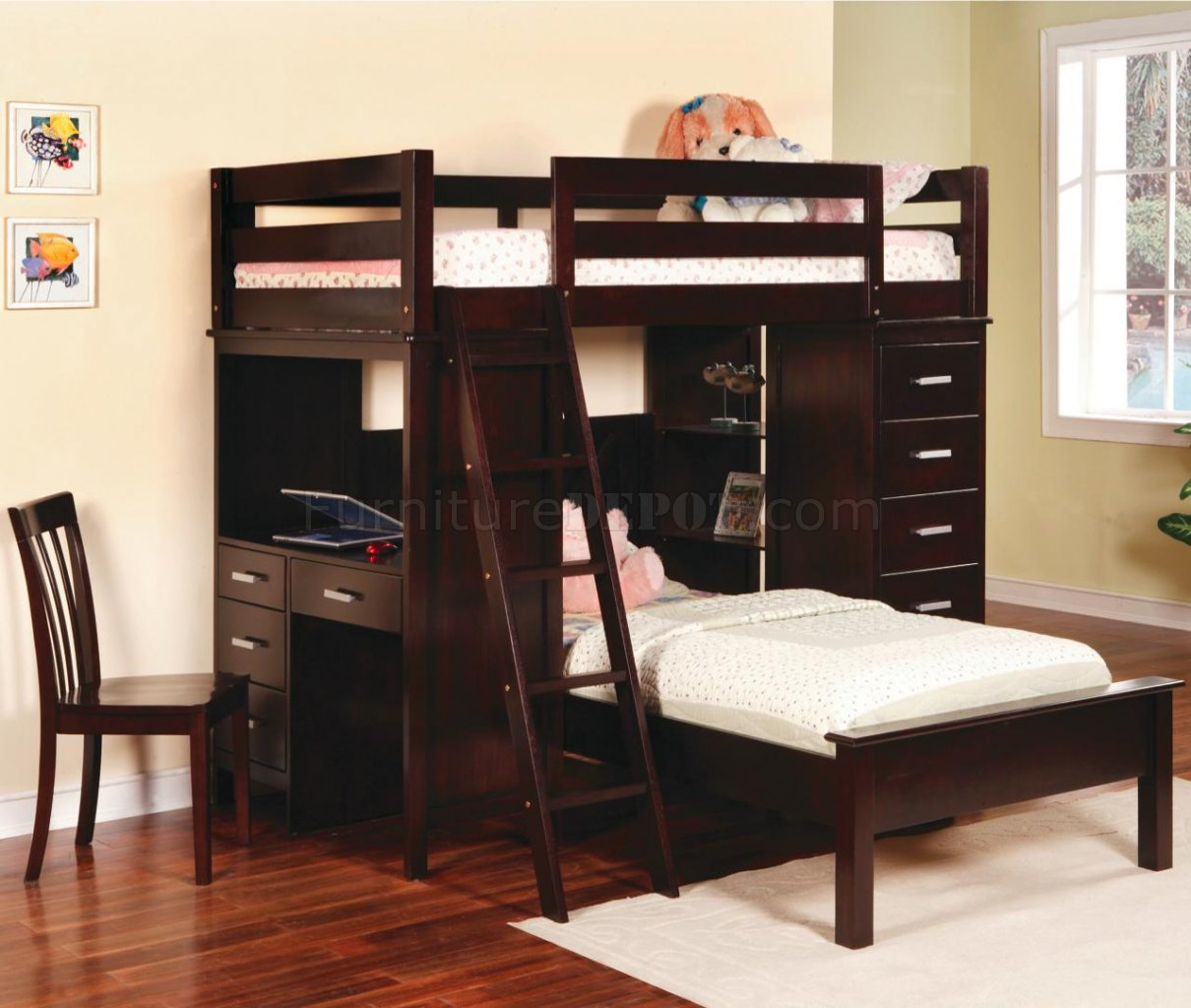 Rich Cappuccino Finish Modern Bunk Bed W Desk Chair