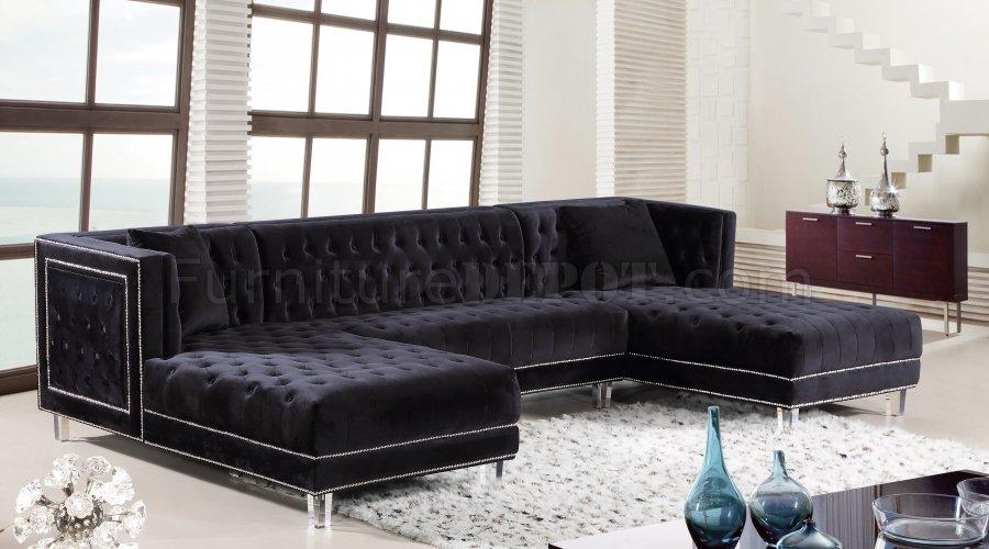 Moda Sectional Sofa 631 In Black Velvet Fabric By Meridian