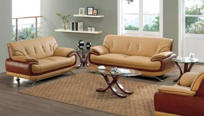 Light And Dark Brown Leather Two Tone Living Room Set