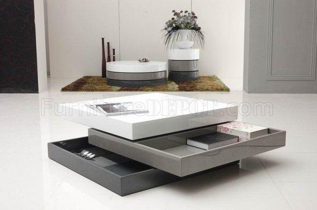 tri-tone finish modern square coffee table w/swivel parts