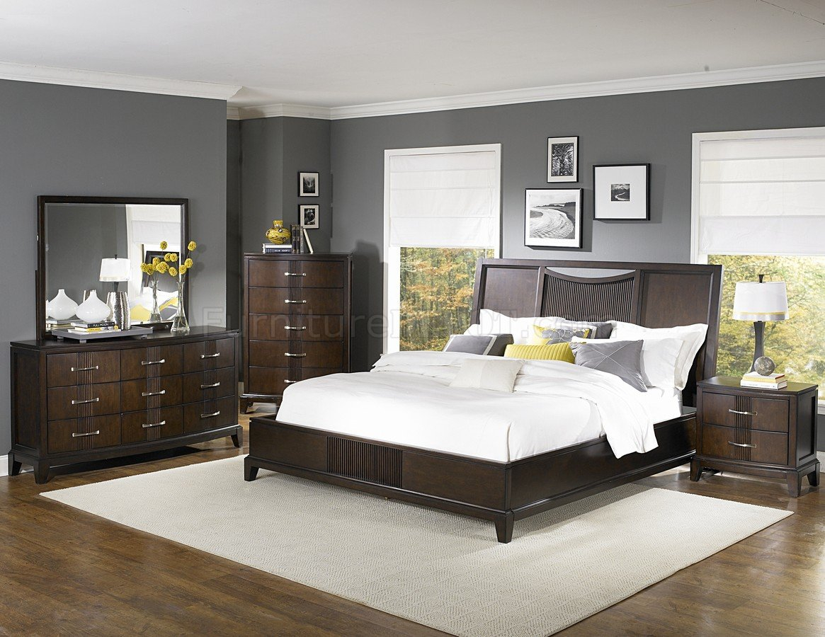 The elegantly curved features make this sleigh bed a graceful and luxurious addition to your bedroom. Dark Espresso Finish Contemporary Bedroom w/Optional Items