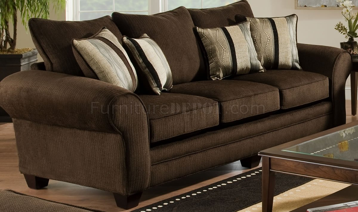 Brown Fabric Casual Sofa Amp Loveseat Set WPlush Flared Arms