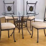 Round Glass Top Modern 5pc Dining Set W Gun Metal Base
