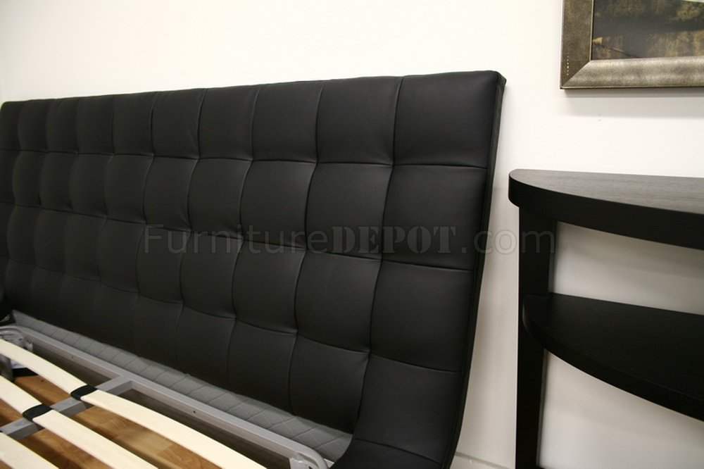 Celia Platform Bed In Black Faux Leather By Wholesale