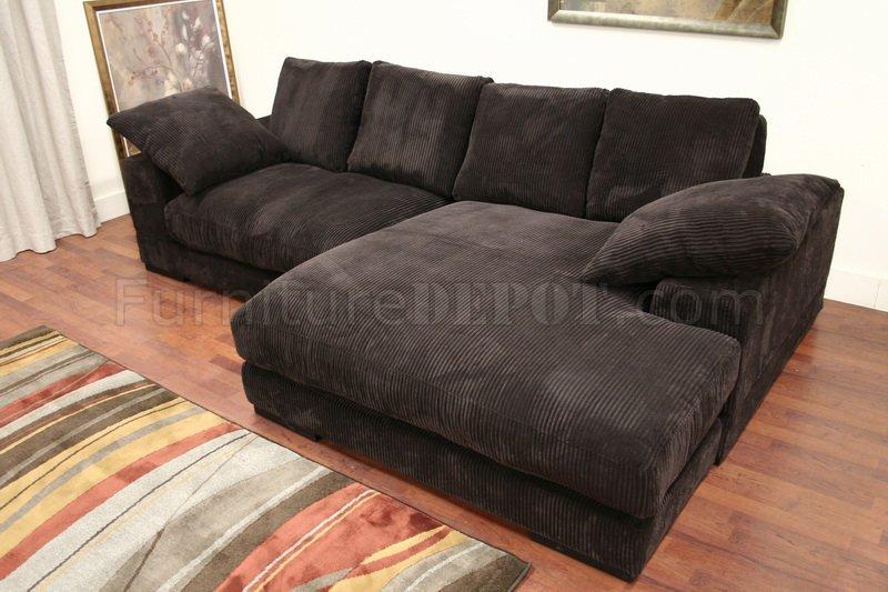 Dark Brown Ribbed Velvety Microfiber Modern Sectional Sofa
