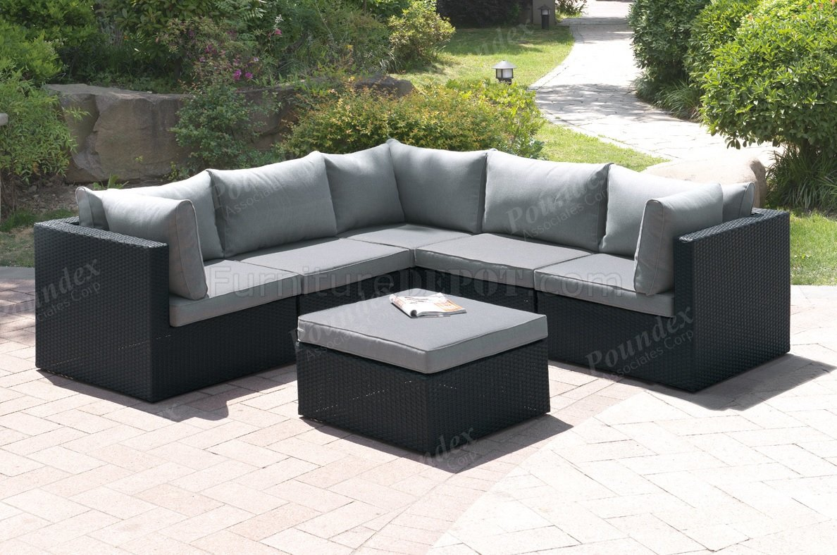 407 Outdoor Patio 6Pc Sectional Sofa Set by Poundex w/Options on Outdoor Loveseat Sets  id=12786