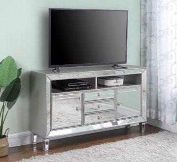 722272 60 TV Console In Metallic Platinum Amp Mirror By Coaster