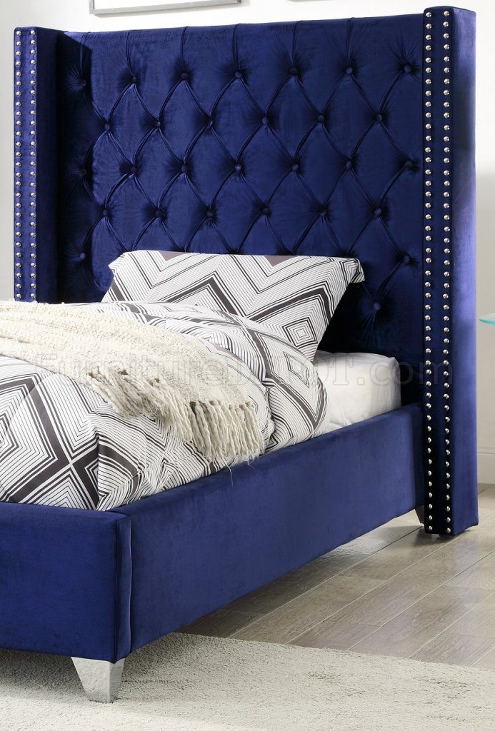 Aiden Bed In Royal Navy Velvet Fabric By Meridian WOptions