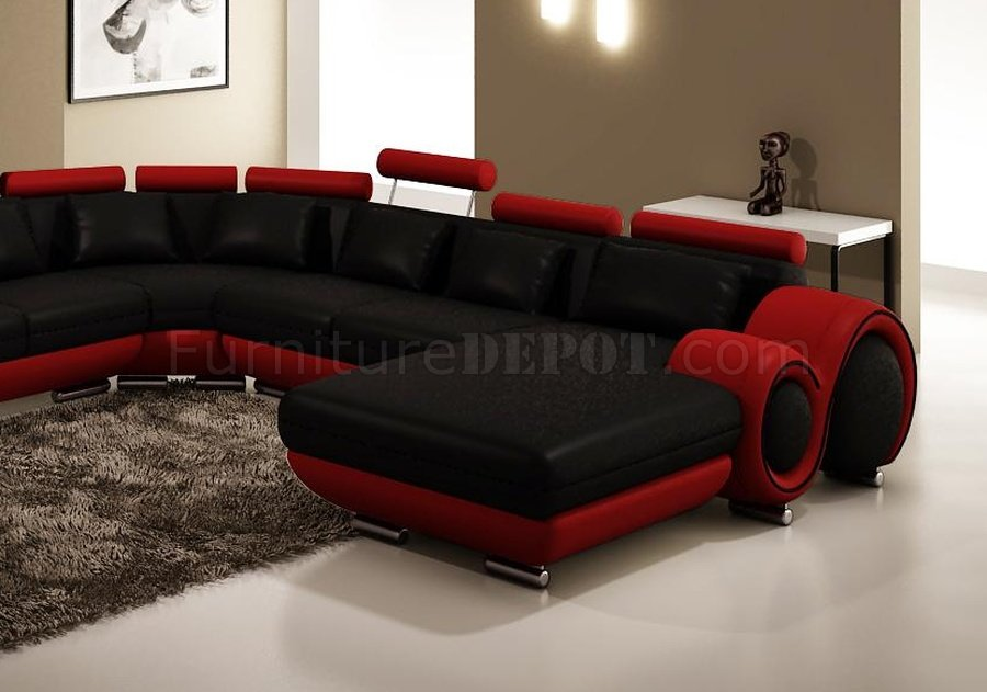4084 sectional sofa in black red