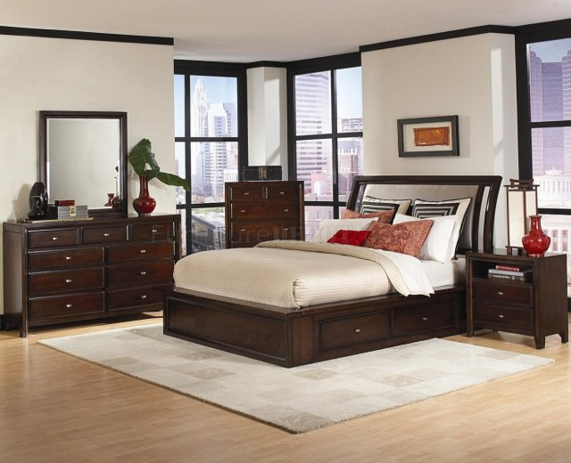 Distressed Cherry Finish Contemporary Bedroom W/Storage Bed