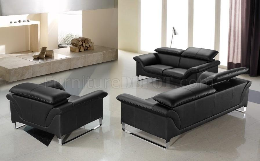 Black Leather Modern Stylish 3PC Living Room Set