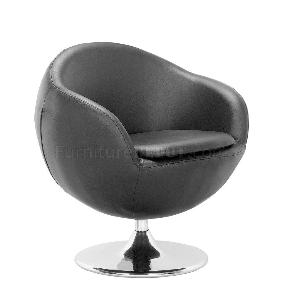 Black White Or Espresso Leatherette Contemporary Swivel Chair