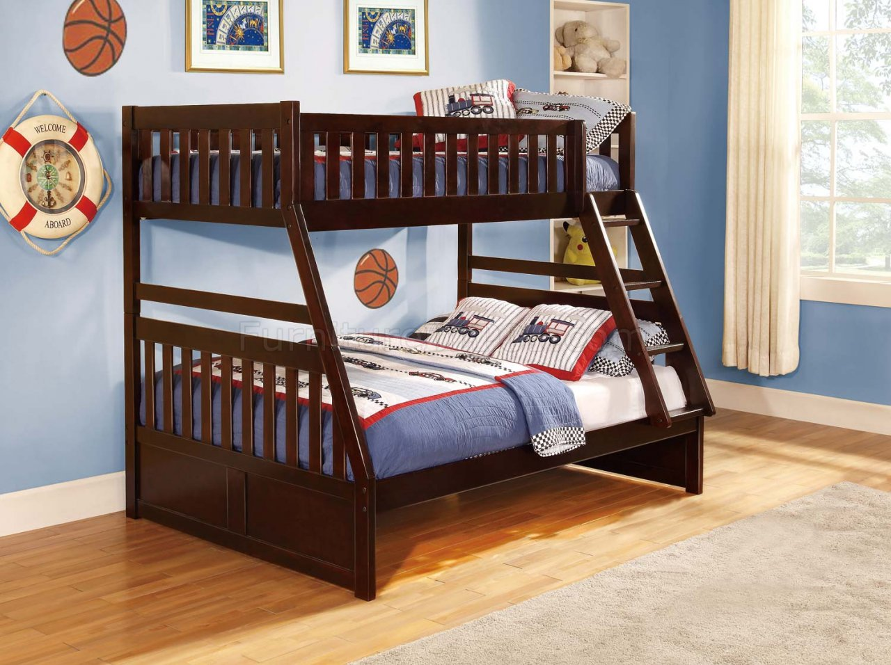 Rowe Twin Full Bunk Bed B2013 In Dark Cherry By Homelegance