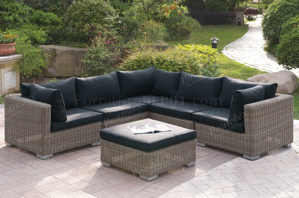 418 Outdoor Patio 6Pc Sectional Sofa Set by Poundex w/Options on Outdoor Loveseat Sets  id=70133