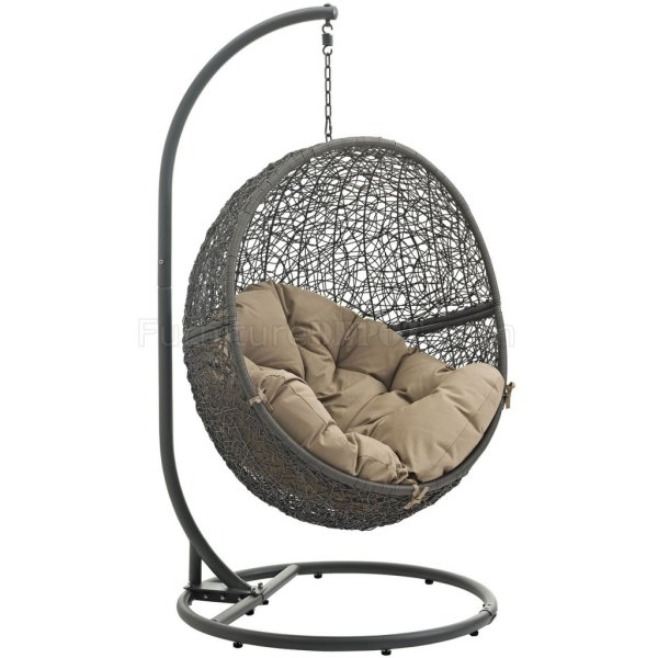 outdoor patio swing chair with stand Hide Outdoor Patio Swing Chair Gray by Modway Choice of Color