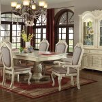 Veronica Dining Table 7pc Set In Antique Style White W Options