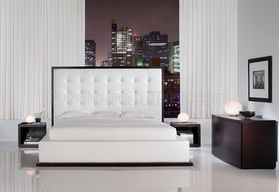 Ludlow White Leather Bedroom Set by Modloft White Full Leather Ludlow Bedroom Set w Oversized Headboard Bed