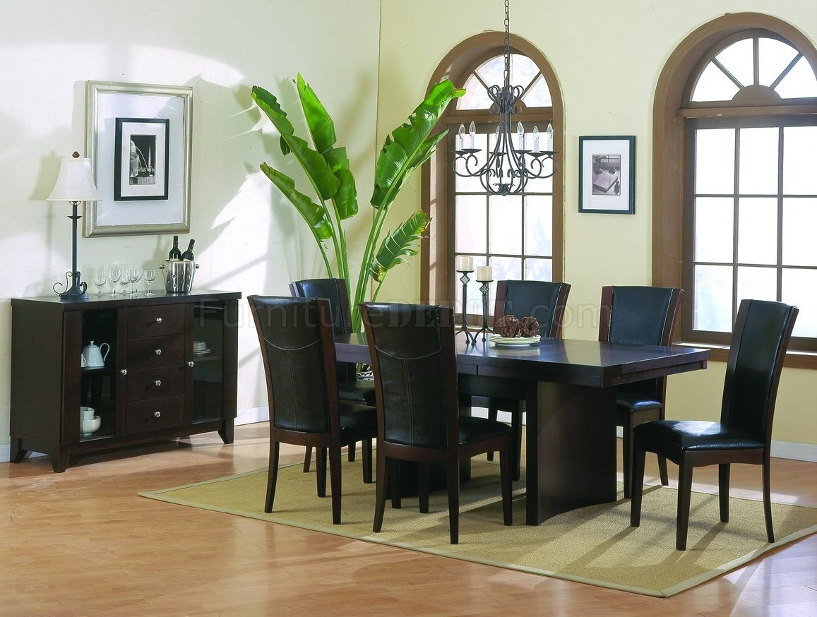 espresso finish modern dining table w