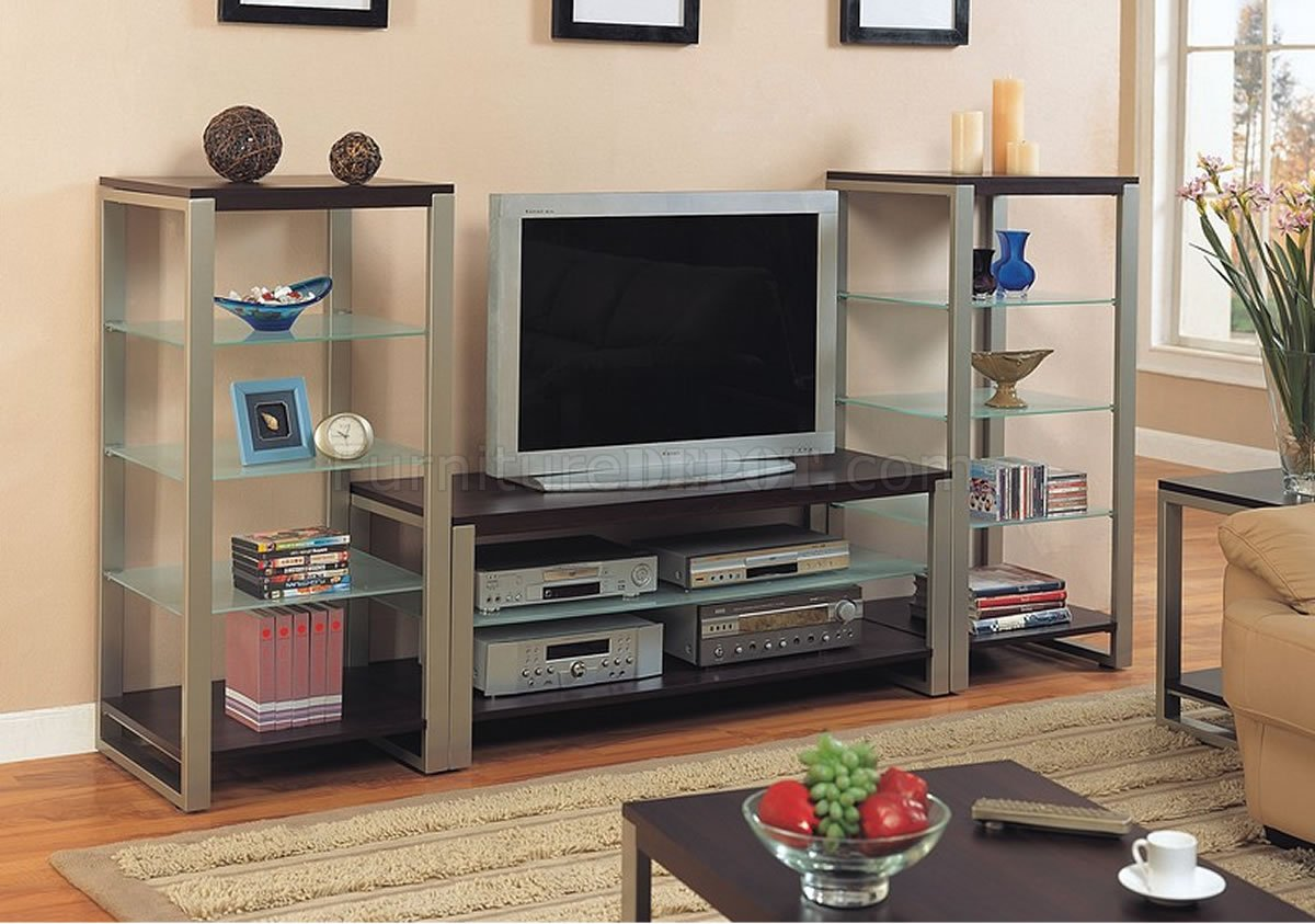Pewter Amp Cappuccino Contemporary Tv Stand WGlass Shelves