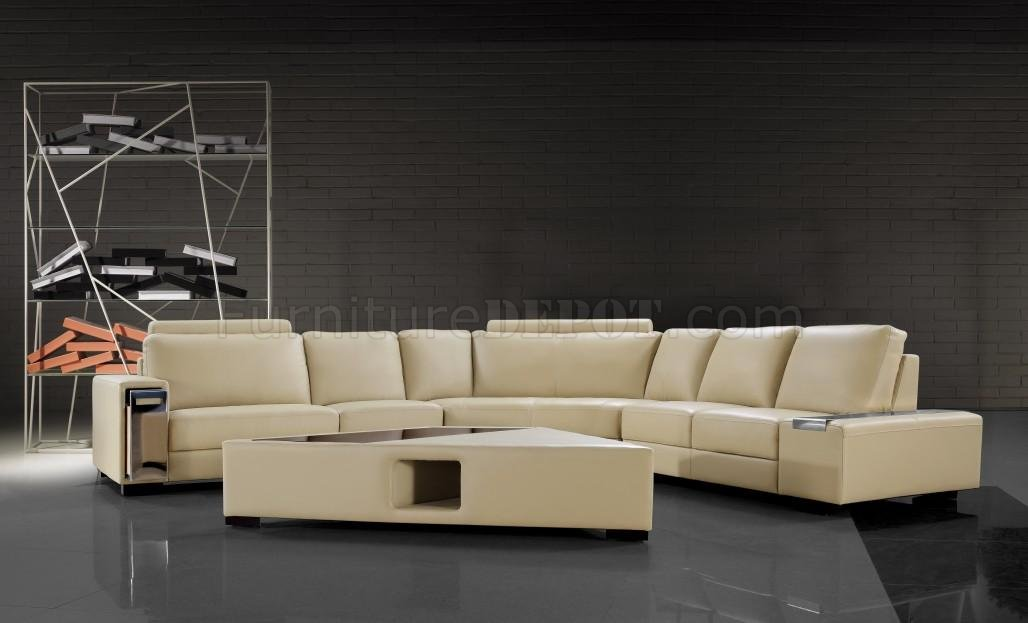 0646 Tera Beige Leather Sectional Sofa W Coffee Table By Vig