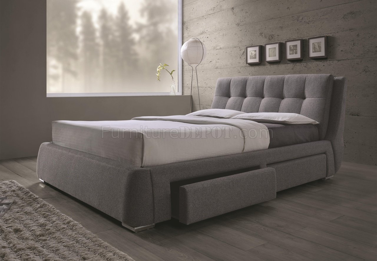 Fenbrook 300523 Upholstered Bed In Grey By Coaster WStorage