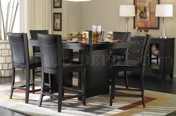 710 36SQ Counter Height Dining Table Espresso WOptions