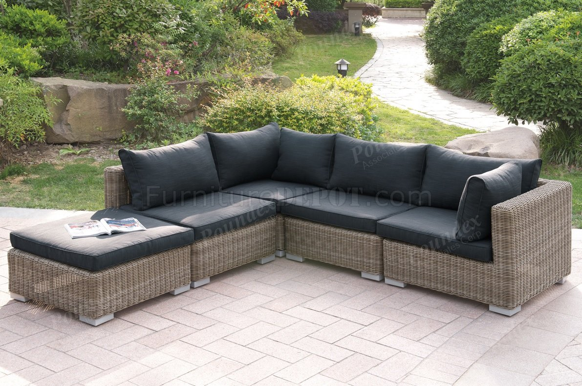 417 Outdoor Patio 5Pc Sectional Sofa Set by Poundex w/Options on Outdoor Loveseat Sets  id=94413