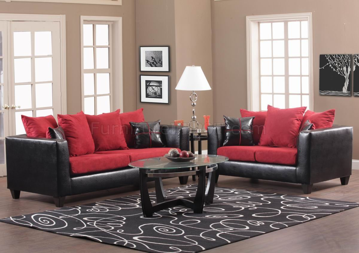 Red Fabric And Black Vinyl Modern Sofa Amp Loveseat Set W