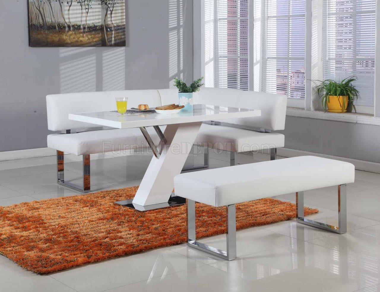 Linden Dining Table Amp Nook Set In White By Chintaly