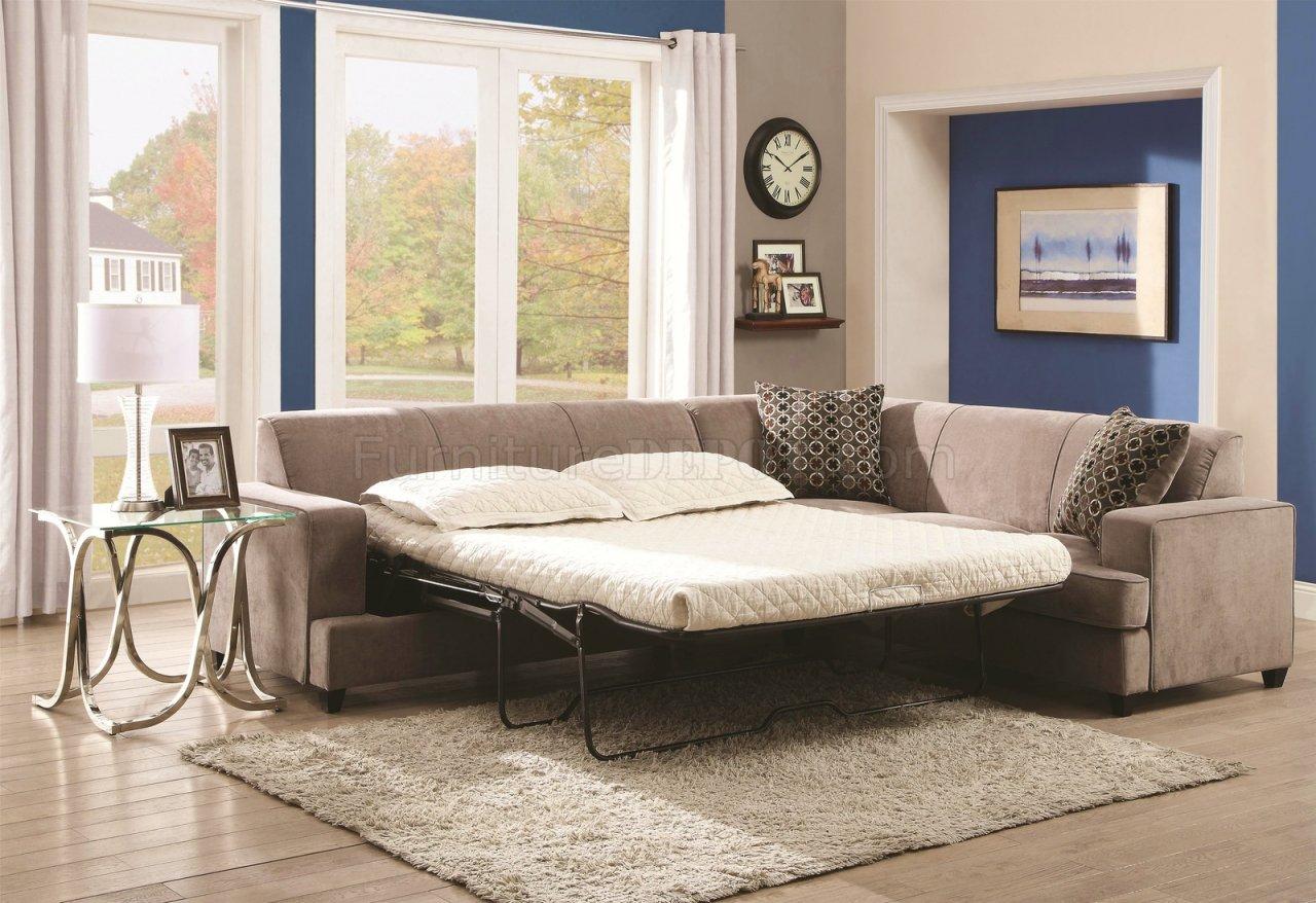 Tess Sectional Sofa By Coaster 500727 In Beige Fabric W Sleeper