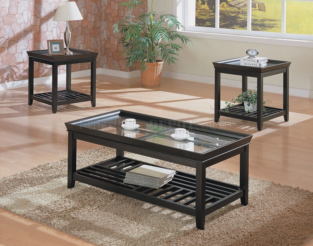 black contemporary 3pc coffee table set