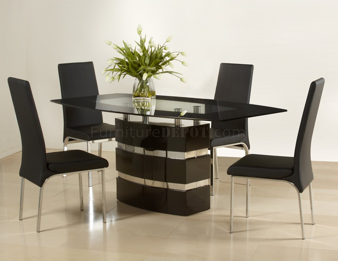 Black High Gloss Finish Modern Dining Table w Optional Chairs