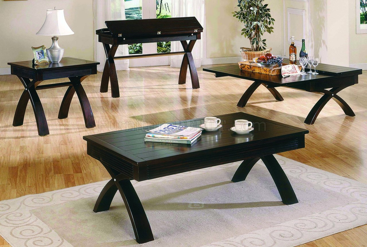 Dark Brown Contemporary Cocktail Table WFold Out Table Top