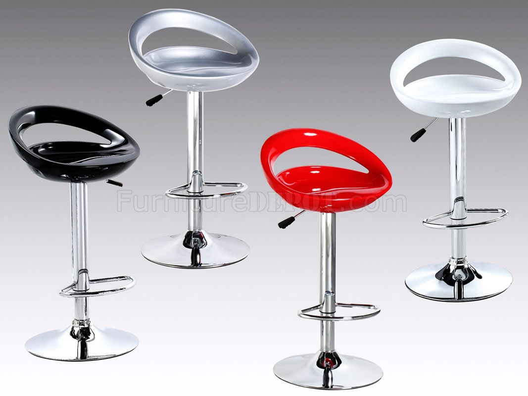 Set Of 2 Red Or Silver Modern Bar Stools