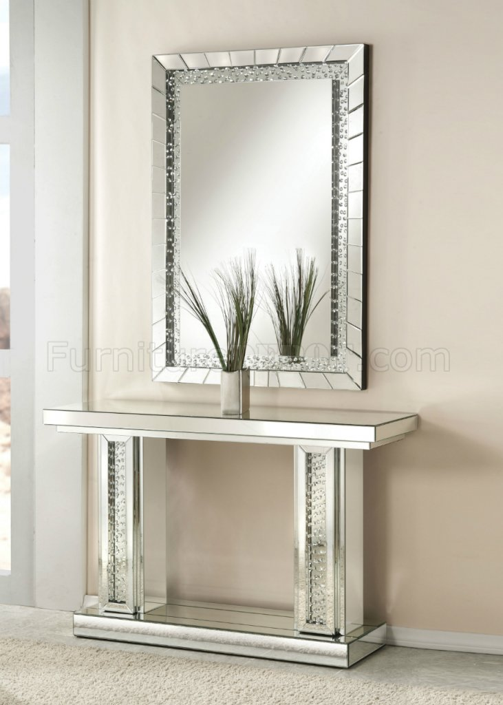 Nysa Console Table Amp Mirror Set 90230 In Mirrored Acme WOptions