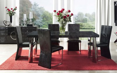 Black Eco Leather Modern Formal Dining Room Table W Chrome