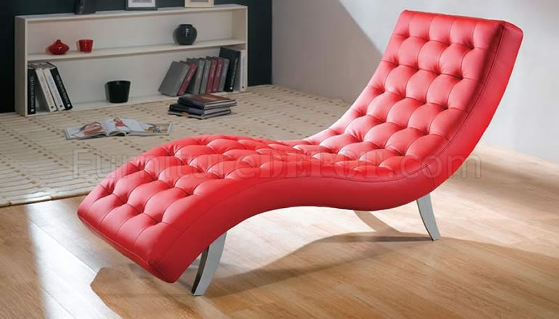 Red Black Beige Brown Or White Modern Vinyl Chaise Lounge
