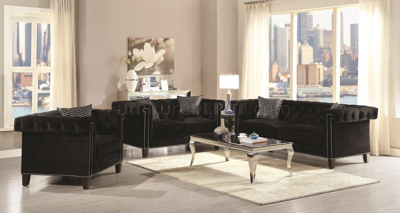 Reventlow Sofa 505817 In Black Velvet Fabric Coaster W