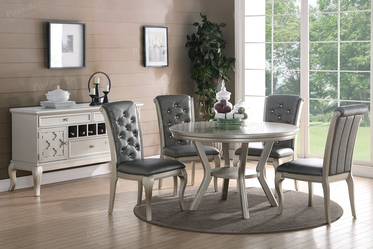 F2150 Dining Set 5Pc In Silver Tone By Boss WOptions