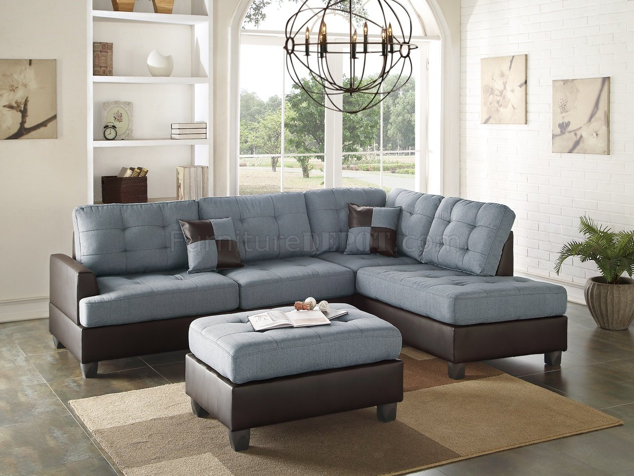 F6858 Sectional Sofa 3Pc In Grey Fabric By Boss