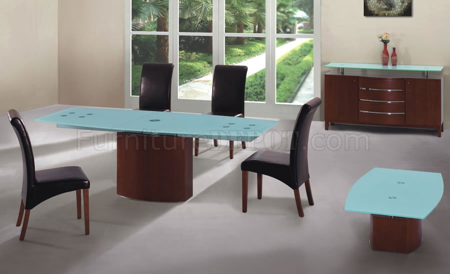 Cherry Finish Modern Dining Table WFrosted Glass Top