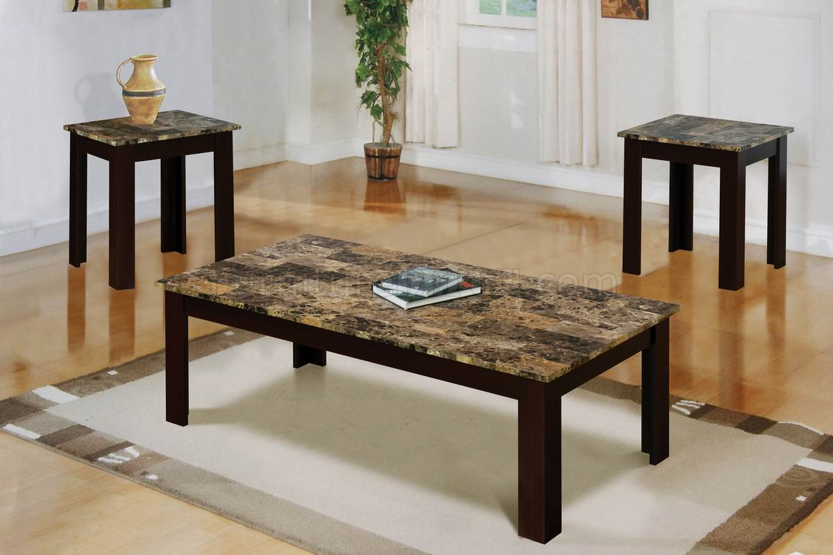faux marble top modern 3pc coffee table