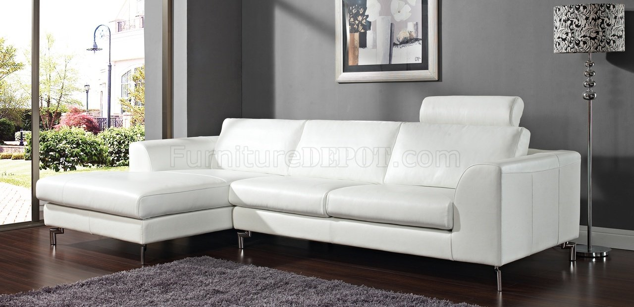 angela sectional sofa in white leather